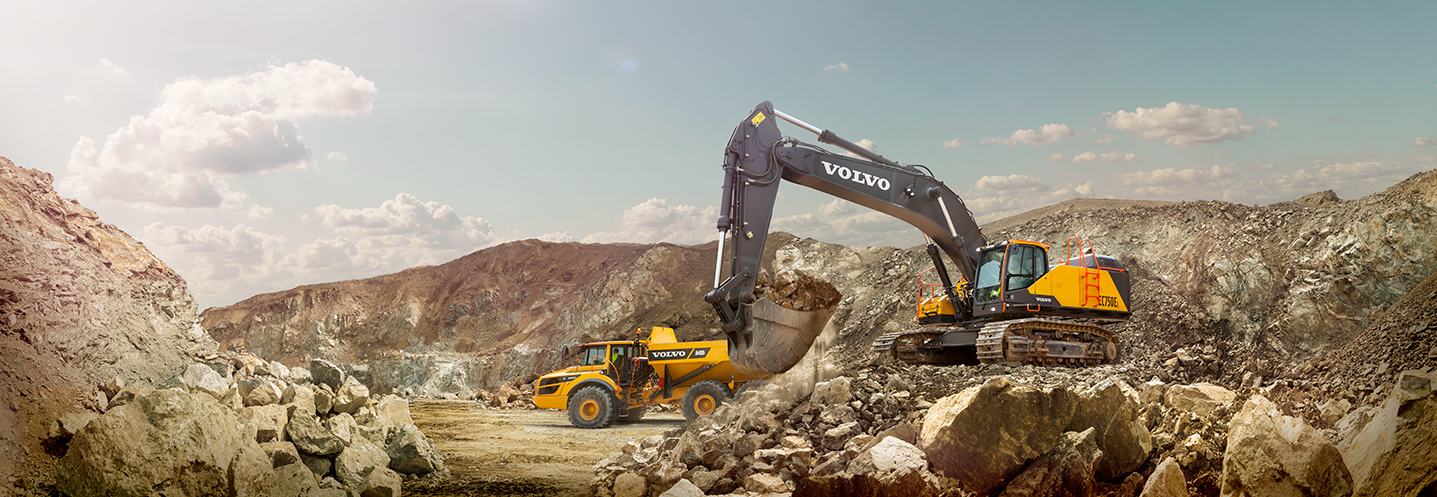 VCE - Volvo Contruction Equipment - EC750 excavator / Pelle hydraulique + A45G Articulated Hauler / Tombereau articulé